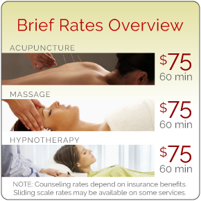 Rates Overview: Acupuncture $75, Massage $75, Hypnotherapy $75